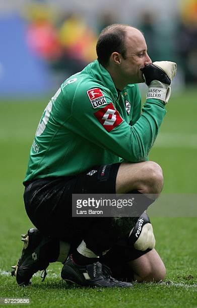 Goalkeeper Kasey Keller of Monchengladbach celebrates winning the Bundesliga match between Borussia Monchengladbach and Borussia Dortmund at the...