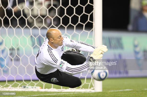 Goalkeeper Kasey Keller of the Seattle Sounders FC blocks a penalty kick against Real Salt Lake on September 9 2010 at Qwest Field in Seattle...