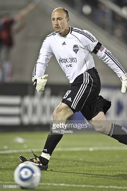 Goalkeeper Kasey Keller of the Seattle Sounders FC chases after a ball during the second half while playing against the Colorado Rapids at Dick's...