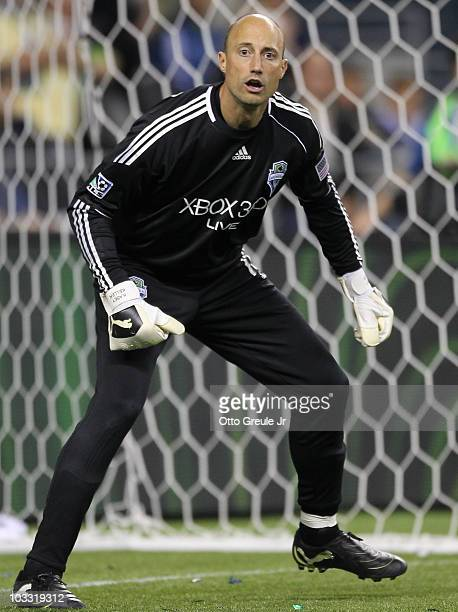 Goalkeeper Kasey Keller of the Seattle Sounders FC follows play against the Houston Dynamo on August 8 2010 at Qwest Field in Seattle Washington The...