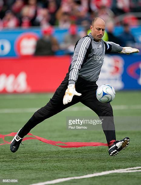 Goalkeeper Kasey Keller of the Seattle Sounders FC kicks the ball during the match against the Toronto FC at BMO Field on April 4 2009 in Toronto...