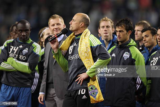 Goalkeeper Kasey Keller of the Seattle Sounders FC speaks to the crowd during a postgame ceremony honoring him after his final home match against the...