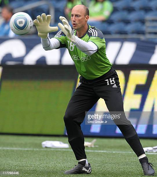 Goalkeeper Kasey Keller of the Seattle Sounders FC warms up prior to the game against the New York Red Bulls at CenturyLink Field on June 23 2011 in...