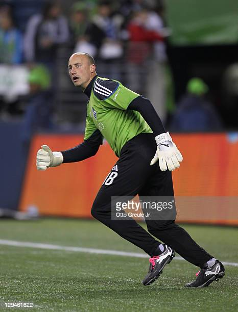 Goalkeeper Kasey Keller of the Seattle Sounders FC warms up prior to the match against the San Jose Earthquakes at CenturyLink Field on October 15...