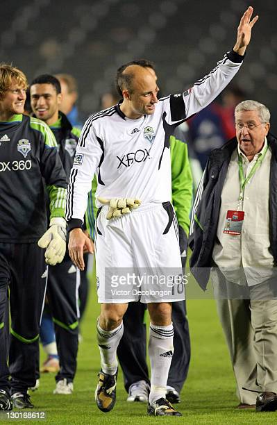 Goalkeeper Kasey Keller of the Seattle Sounders waves to fans after their MLS match against Chivas USA at The Home Depot Center on October 22 2011 in...