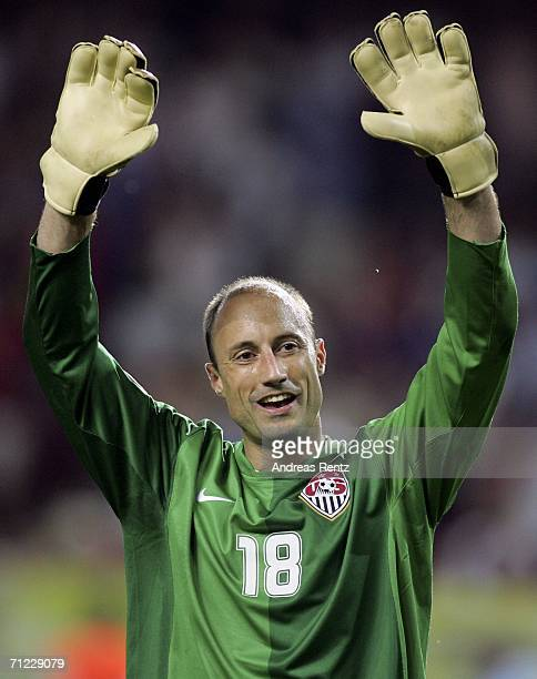 Goalkeeper Kasey Keller of the USA celebrates following his team's 11 draw during the FIFA World Cup Germany 2006 Group E match between Italy and USA...