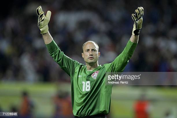Goalkeeper Kasey Keller of the USA gestures during the FIFA World Cup Germany 2006 Group E match between Italy and USA at the FritzWalter Stadium on...
