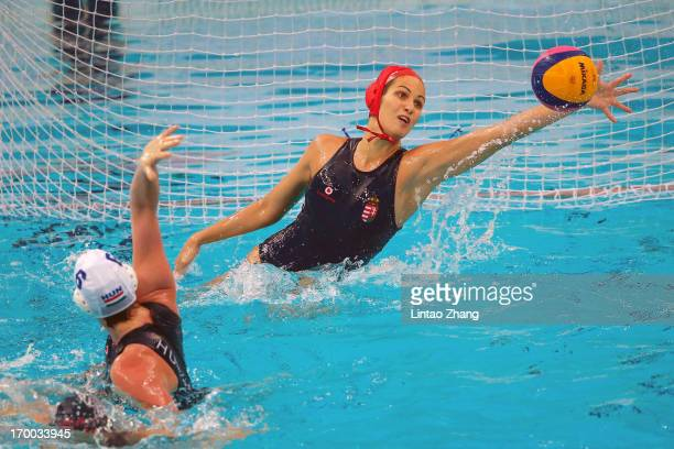 Goalkeeper Kaso Orsolya of Hungary reaches for the ball during the Women's Water Polo Gold Medal match between the United States and Hungary on day...