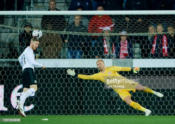 Goalkeeper Kasper Schmeichel of Denmark in action during the international friendly match between Denmark and Austria at MCH Arena on October 16 2018...