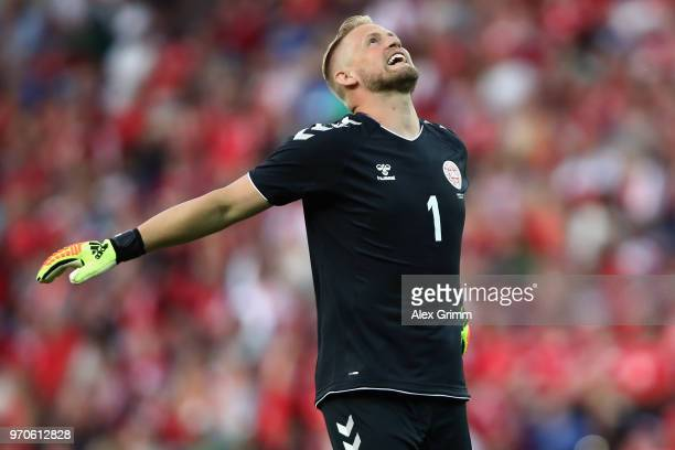 Goalkeeper Kasper Schmeichel of Denmark reacts during the international friendly match between Denmark and Mexico ahead of the FIFA World Cup Russia...