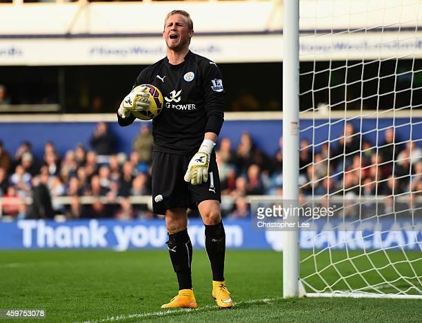 Goalkeeper Kasper Schmeichel of Leicester City complains towards the linesman during the Barclays Premier League match between Queens Park Rangers...