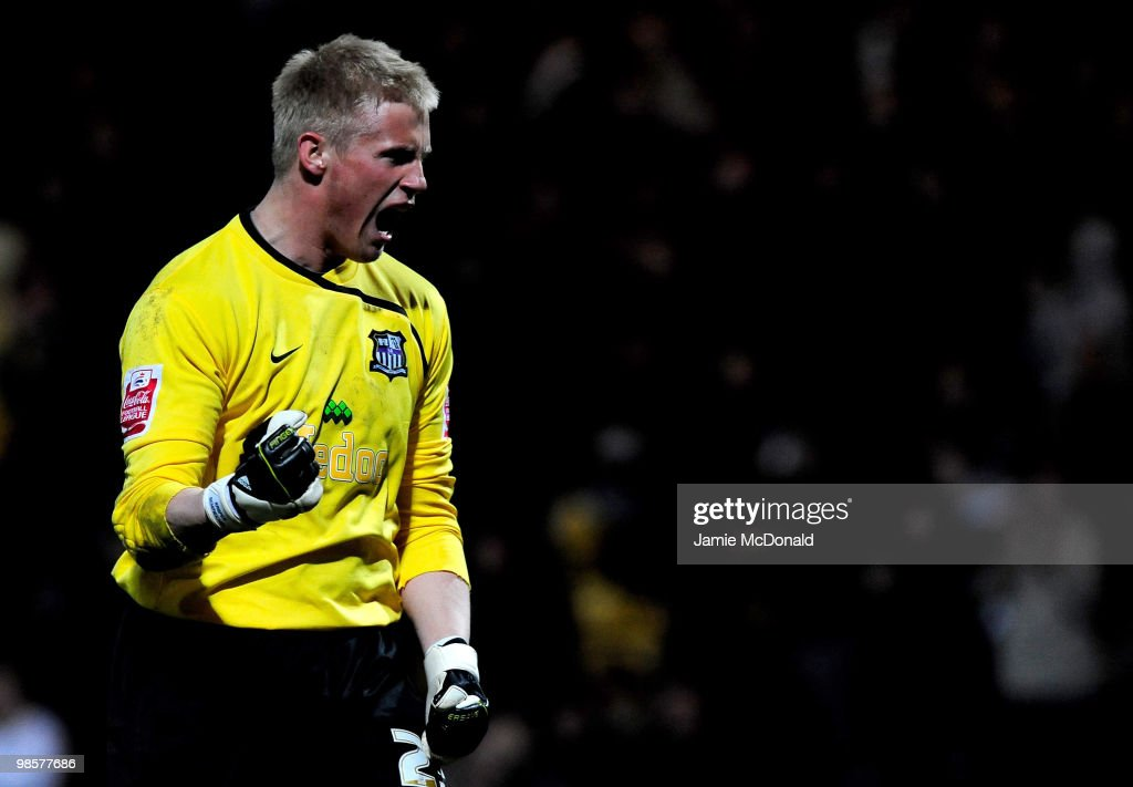 Goalkeeper Kasper Schmeichel of Notts County celebrates victory at the end of the Coca Cola League 2 match between Notts County and Rochdale at the Meadow Lane Stadium on April 20, 2010 in Nottingham, England.
