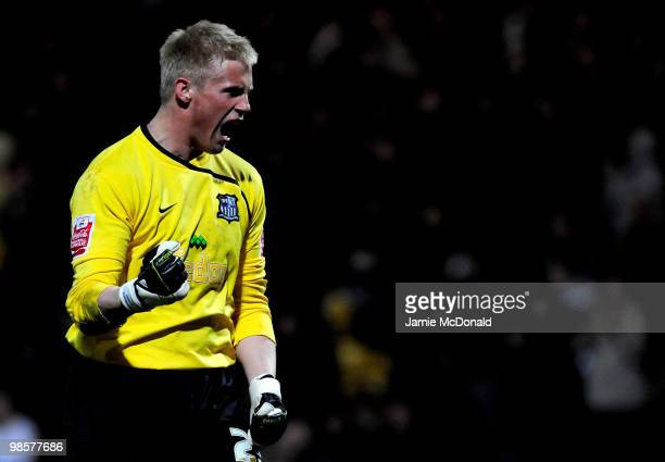 Goalkeeper Kasper Schmeichel of Notts County celebrates victory at the end of the Coca Cola League 2 match between Notts County and Rochdale at the...