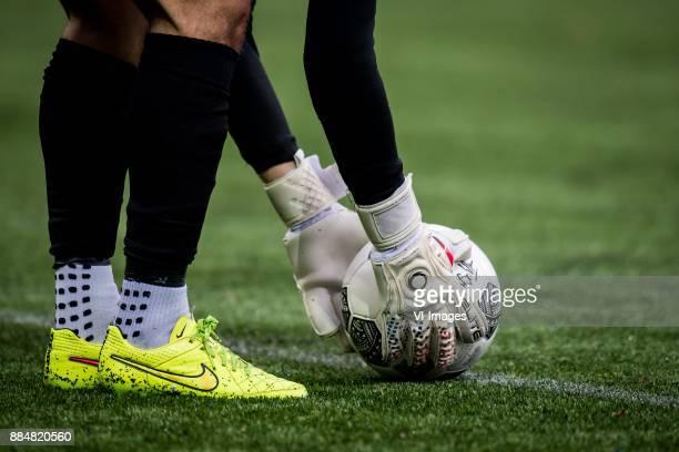 goalkeeper keeper glove gloves ball during the Dutch Eredivisie match between VVV Venlo and AZ Alkmaar at Seacon stadium De Koel on December 03 2017...