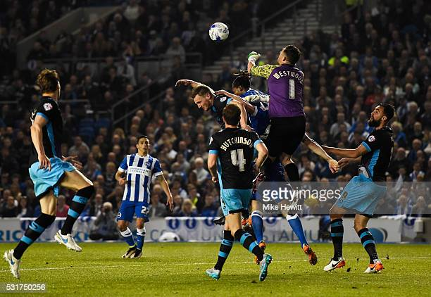 Goalkeeper Keiren Westwood of Sheffield Wednesday punches clear during the Sky Bet Championship Play Off semi final second leg match between Brighton...