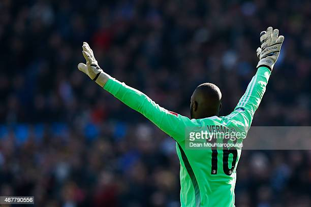 Goalkeeper Kenneth Vermeer of Feyenoord signals to his players during the Dutch Eredivisie match between Feyenoord and PSV Eindhoven at De Kuip on...