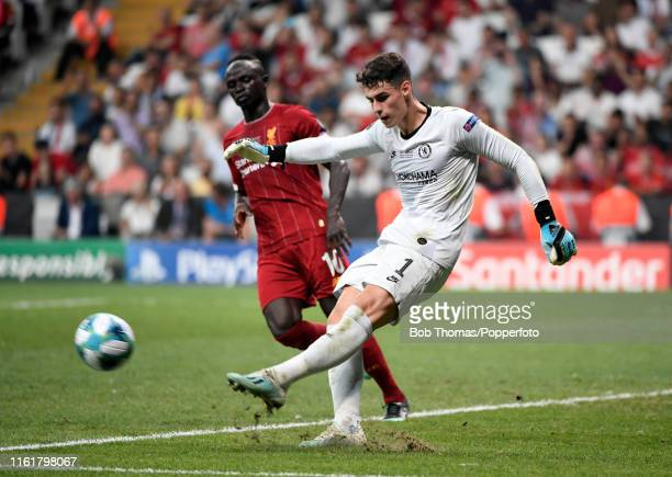 Goalkeeper Kepa Arrizabalaga in action for Chelsea during the UEFA Super Cup match between Liverpool and Chelsea at Vodafone Park on August 14 2019...
