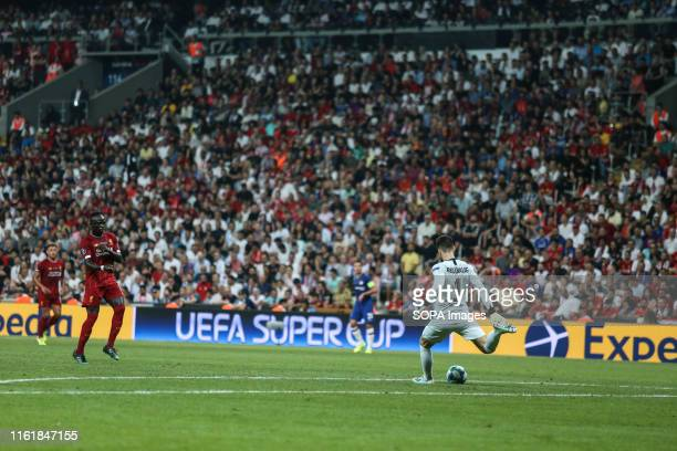 Goalkeeper Kepa Arrizabalaga in action for Chelsea during the UEFA Super Cup match between Liverpool and Chelsea at Vodafone Park