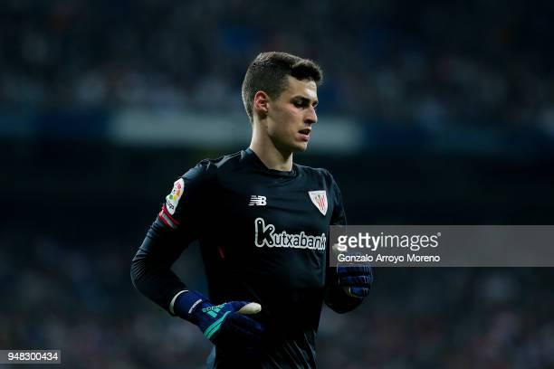 Goalkeeper Kepa Arrizabalaga of Athletic Club in action during the La Liga match between Real Madrid CF and Athletic Club de Bilbao at Estadio...