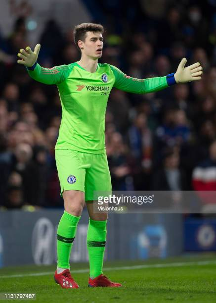 Goalkeeper Kepa Arrizabalaga of Chelsea during the FA Cup Fifth Round match between Chelsea and Manchester United at Stamford Bridge on February 18...