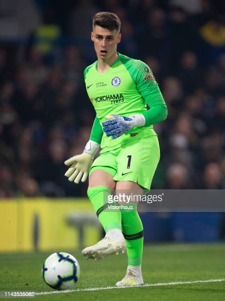 Goalkeeper Kepa Arrizabalaga of Chelsea during the Premier League match between Chelsea FC and West Ham United at Stamford Bridge on April 08 2019 in...