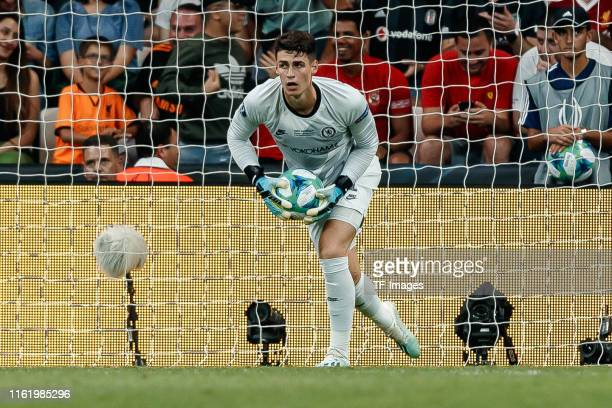 Goalkeeper Kepa Arrizabalaga of Chelsea FC controls the ball during the UEFA Super Cup match between FC Liverpool and FC Chelsea at Vodafone Park on...