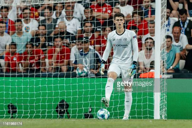 Goalkeeper Kepa Arrizabalaga of Chelsea FC looks on during the UEFA Super Cup match between FC Liverpool and FC Chelsea at Vodafone Park on August 14...