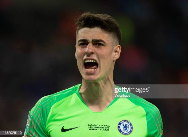 Goalkeeper Kepa Arrizabalaga of Chelsea reacts after saving a penalty from Leroy Sané during penalty shoot out during the Carabao Cup Final between...