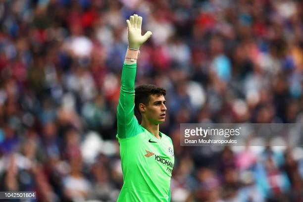 Goalkeeper Kepa Arrizabalaga of Chelsea signals to a team mate during the Premier League match between West Ham United and Chelsea FC at London...