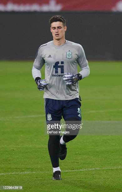 goalkeeper Kepa Arrizabalaga Revuelta of Spain looks on during the Spain training session ahead of the UEFA Nations League match against Germany at...