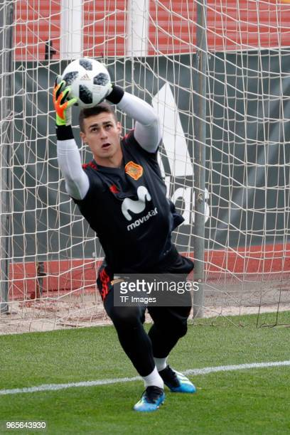 Goalkeeper Kepa of Spain catches the ball during a training session on May 30 2018 in Madrid Spain