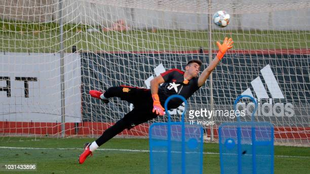 Goalkeeper Kepa of Spain controls the ball during a training session on September 3 2018 in Madrid Spain