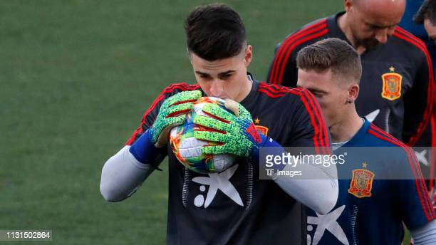 goalkeeper Kepa of Spain gestures during a Spain international training session at Las Rozas sports complex on March 18 2019 in Madrid Spain