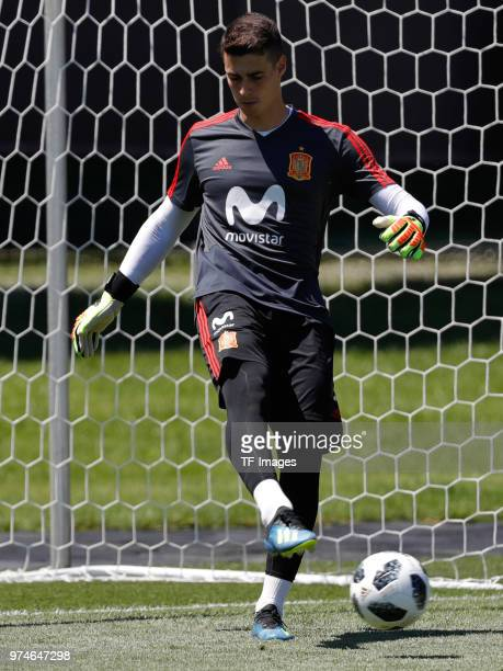 Goalkeeper Kepa of Spain kicks the ball during a training session on June 11 2018 in Krasnodar Russia
