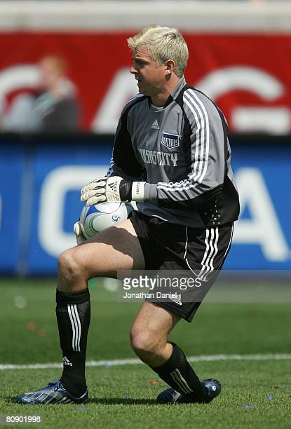 Goalkeeper Kevin Hartman of the Kansas City Wizards makes a save against the Chicago Fire during their MLS match on April 20 2008 at Toyota Park in...