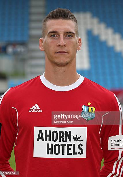 Goalkeeper Kevin Kunz poses during the Chemnitzer FC team presentation on July 15 2016 in Chemnitz Germany