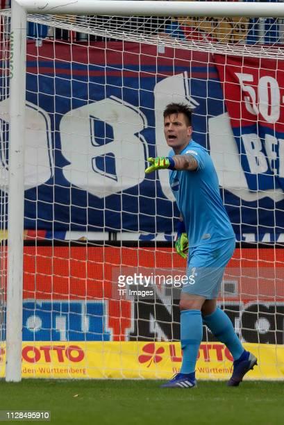 Goalkeeper Kevin Mueller of 1. FC Heidenheim gestures during the Second Bundesliga match between 1. FC Heidenheim 1846 and SSV Jahn Regensburg at...