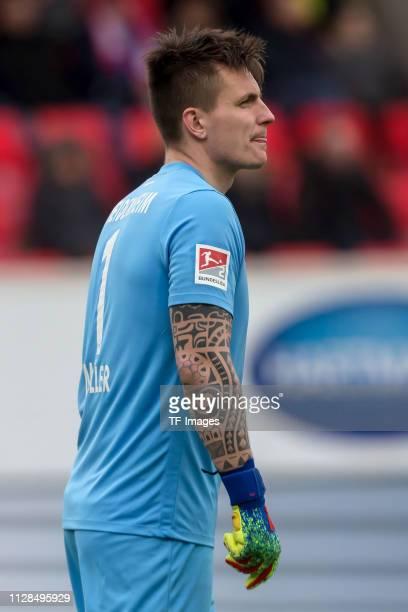 Goalkeeper Kevin Mueller of 1. FC Heidenheim looks on during the Second Bundesliga match between 1. FC Heidenheim 1846 and SSV Jahn Regensburg at...