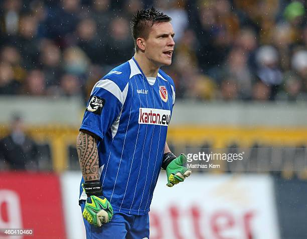 Goalkeeper Kevin Mueller of Cottbus looks on during the third league match between SG Dynamo Dresden and FC Energie Cottbus at Gluecksgas-Stadion on...