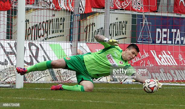 Goalkeeper Kevin Mueller of Cottbus reacts during the Third League match between Hallescher FC and FC Energie Cottbus at Erdgas-Sportpark on March...
