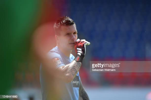 Goalkeeper Kevin Mueller of Heidenheim looks on during the Second Bundesliga match between 1. FC Heidenheim 1846 and SSV Jahn Regensburg at...