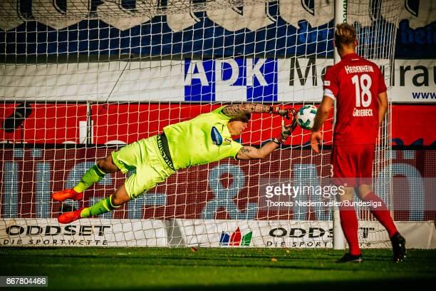 Goalkeeper Kevin Mueller of Heidenheim saves the ball during the Second Bundesliga match between 1. FC Heidenheim 1846 and 1. FC Nuernberg at...