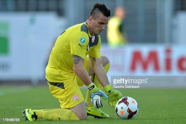 Goalkeeper Kevin Mueller of Stuttgart saves the ball during the 3. Liga match between Preussen Muenster and VfB Stuttgart II at Preussenstadion on...
