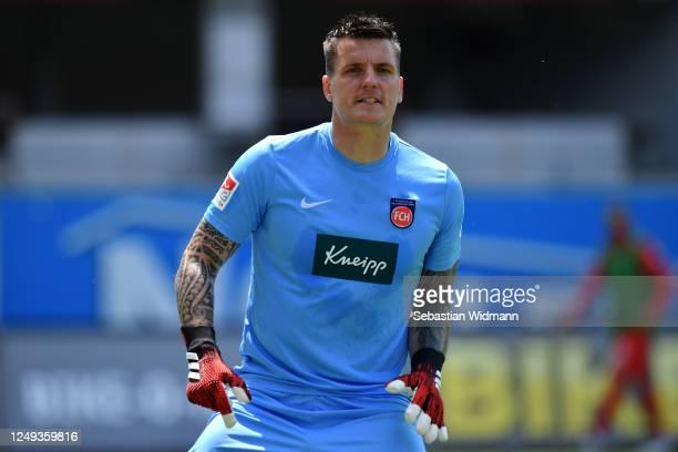 Goalkeeper, Kevin Muller of FC Heidenheim 1846 looks on during the Second Bundesliga match between 1. FC Heidenheim 1846 and SSV Jahn Regensburg at...