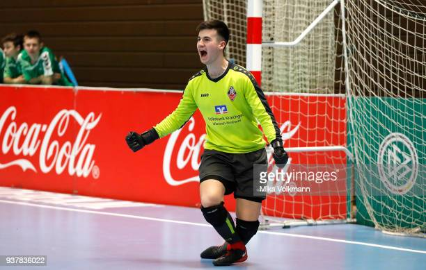 Goalkeeper Kevin Neumann celebrates during the DFB Indoor Football half final match between Blumenthaler SV and VFB Eppingen on March 25 2018 in...