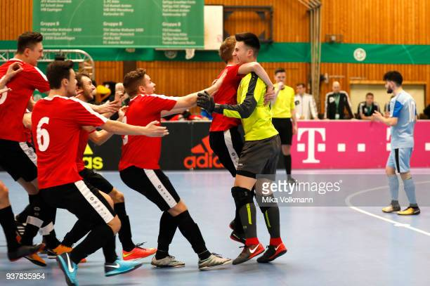 Goalkeeper Kevin Neumann celebrates the victory after the DFB Indoor Football half final match between Blumenthaler SV and VFB Eppingen on March 25...