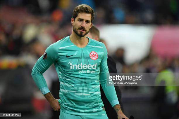 Goalkeeper Kevin Trapp looks on after the UEFA Europa League round of 16 second leg match between RB Salzburg and Eintracht Frankfurt at Red Bull...