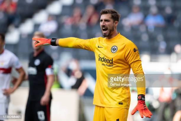 Goalkeeper Kevin Trapp of Eintracht Frankfurt gestures during the Bundesliga match between Eintracht Frankfurt and VfB Stuttgart at Deutsche Bank...