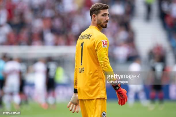Goalkeeper Kevin Trapp of Eintracht Frankfurt looks on during the Bundesliga match between Eintracht Frankfurt and VfB Stuttgart at Deutsche Bank...