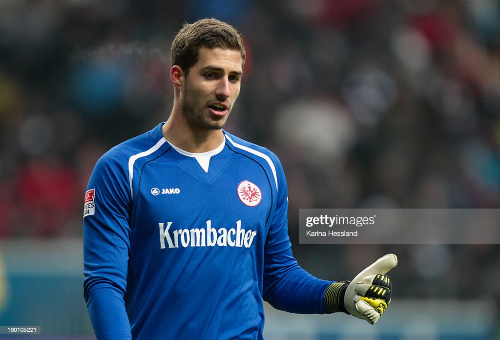 Goalkeeper Kevin Trapp of Frankfurt reacts during the Bundesliga match between Eintracht Frankfurt and 1899 Hoffenheim at Commerzbank-Arena on January 26, 2013 in Frankfurt am Main, Germany.